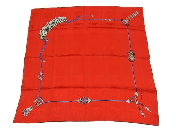 湘南で愛されて60年の質屋です 購入 送料無料 カードOK いつでも送料無料 カルティエ Cartierストール スカーフ シルク100% 良品 程度A- 赤 レッドレディース 中古