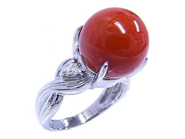 【質屋出品】【中古】【程度A】【ノーブランド】指輪 リング Pt900 プラチナサンゴ 珊瑚 ダイヤモンド 0.10ct