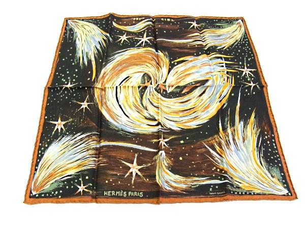 【中古品】【程度A+】【美品】エルメス HERMES スカーフ プチカレシルク100% レディース 天の火 ブラウン ブラック系