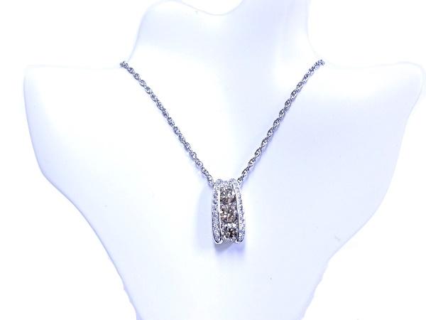 【中古】【程度A】【美品】カシケイ スリーストーン ネックレス ブラウンダイヤ 1.00ct 0.20ct Kashikey Pt850/Pt900 three stone setting
