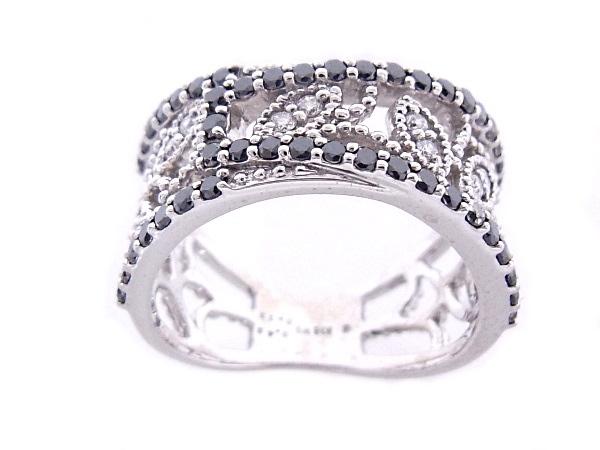 K18WG ホワイトゴールド 指輪 リングブラックダイヤモンド 0.49ctダイヤモンド 0.13ct【中古A+】【極上美品】【質屋出品】【ノーブランド】
