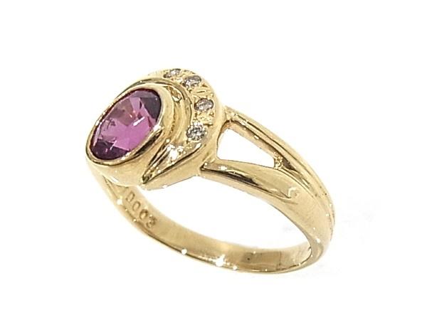 指輪 750 K18 YG イエローゴールドノーブランド リング ガーネット ダイヤ 程度A美品SqUpzMV