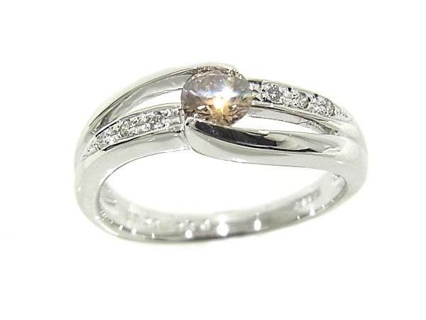 指輪 K18WG ホワイトゴールドダイヤリング  ブラウンダイヤモンド 0.261ct【中古】【程度A+】【仕上げ済】【ノーブランド】