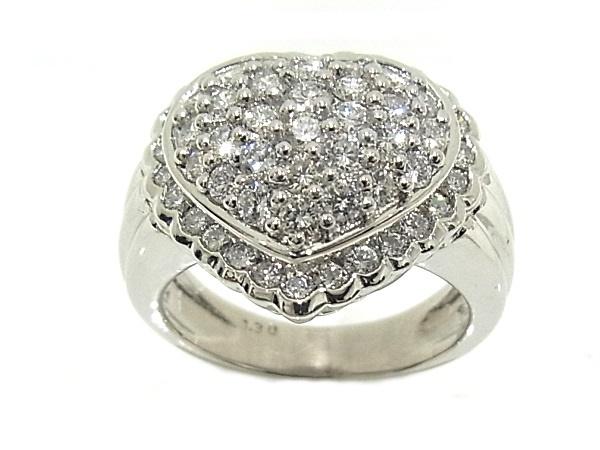 指輪 Pt900 プラチナ ダイヤリング 合計1.30ctハートモチーフ【中古】【程度A】【質屋出品】【新品仕上げ済み】【ノーブランド】