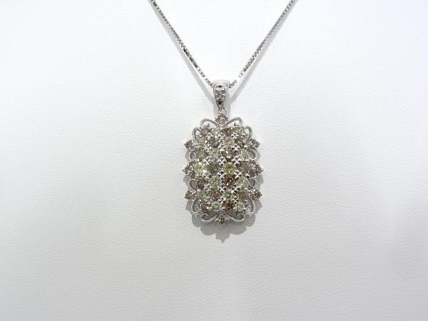 K18WG ホワイトゴールド ペンダントネックレスダイヤモンド 2.30ctブラウンダイヤ イエローダイヤ【中古】【程度A】【美品】【ノーブランド】