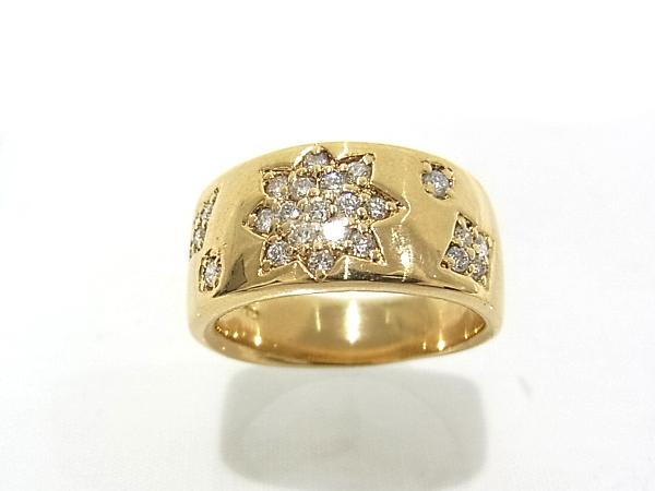 750 K18 YG イエローゴールド 指輪 ダイヤ0.32ct ノーブランド リング【中古】【程度A】【美品】