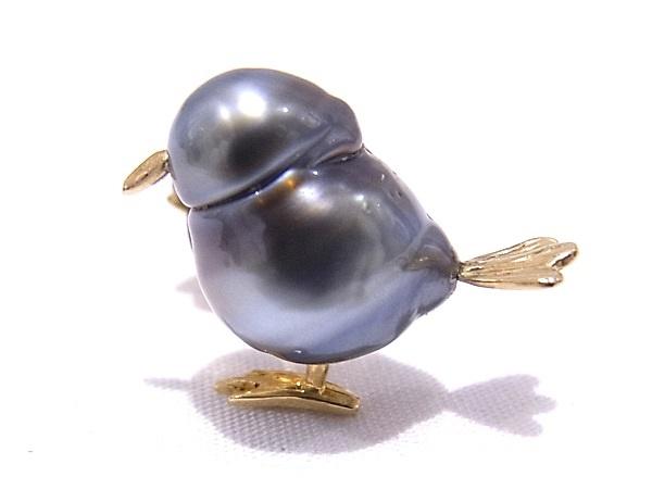 ピンブローチ パールブローチ 小鳥モチーフK18 YG イエローゴールド 真珠 ブラックパール【中古】【程度A】【美品】
