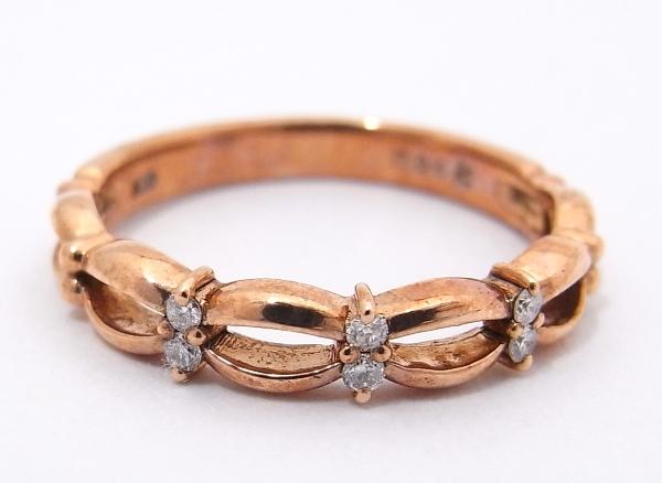 【質屋出品】【中古】【程度A-】【ノーブランド】指輪 リング K10 PG ピンクゴールドダイヤモンドノーブランド リング 指輪