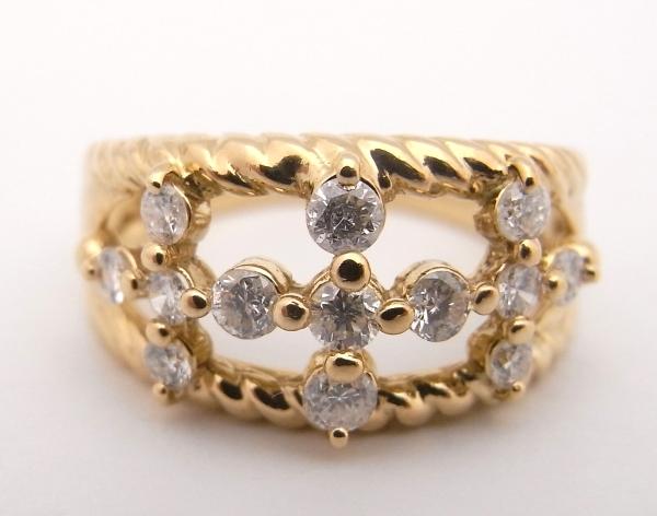 【送料無料】【代引手数料無料】【中古】【程度A】K18 イエローゴールド 指輪 ダイヤモンド 0.52ctノーブランド リング