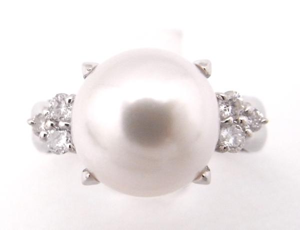 【中古】【程度A】【美品】【新品仕上げ済み】【ノーブランド】指輪 パールリング 約8.5mm玉 ダイヤモンド 0.18ctPt900 プラチナ リング