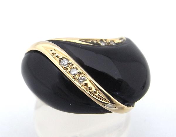 【仕上げ済み】【中古】【程度A】指輪 リング K18 イエローゴールドオニキスダイヤモンド 0.04ct