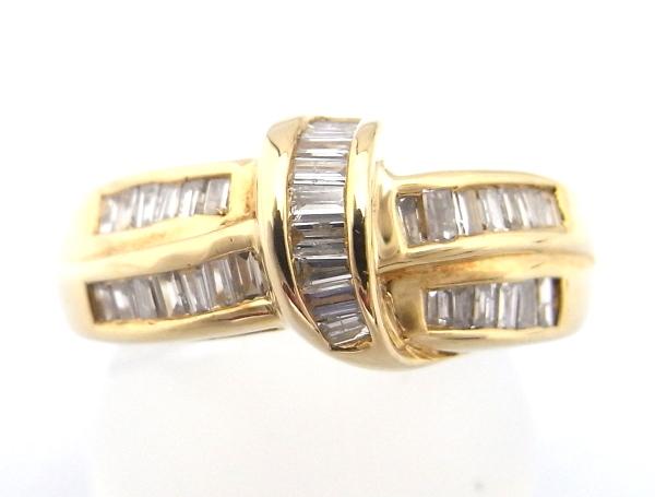 【仕上げ済み】【中古】【程度A】【美品】指輪 リング K18 イエローゴールド角型メレダイヤモンド 0.70ct