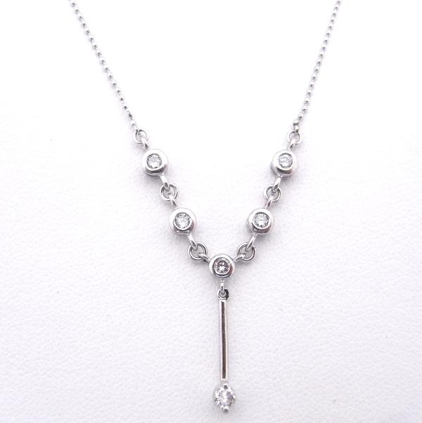 【中古】【程度A】【ノーブランド】Pt850/900 プラチナ ネックレスダイヤモンド 0.30ct