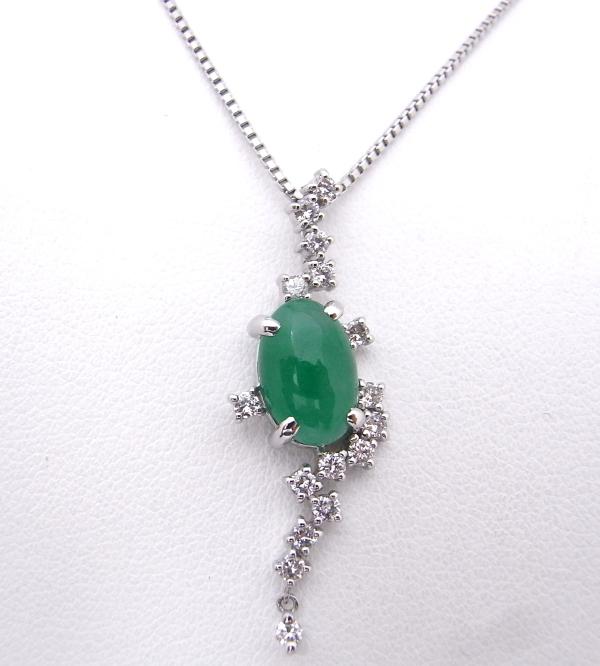 【中古】【程度A】【ノーブランド】Pt850/900 プラチナ ネックレスひすい ダイヤモンド ソーティング付き