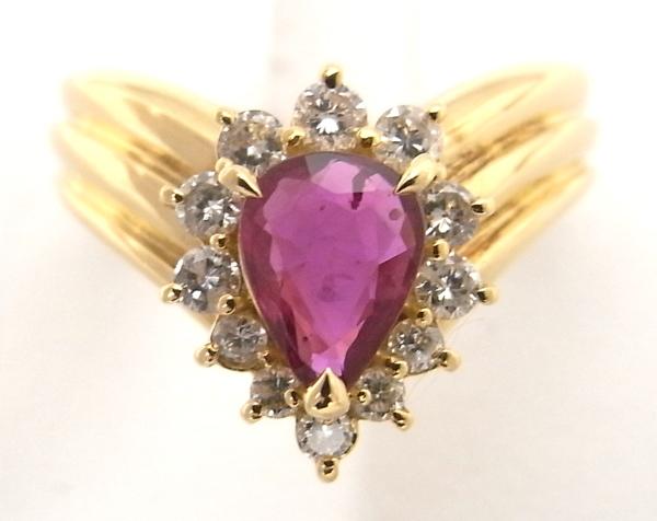 K18 YG イエローゴールド 指輪 ルビー0.72ct ダイヤモンド0.31ct ノーブランド リング【中古】【程度A】【美品】