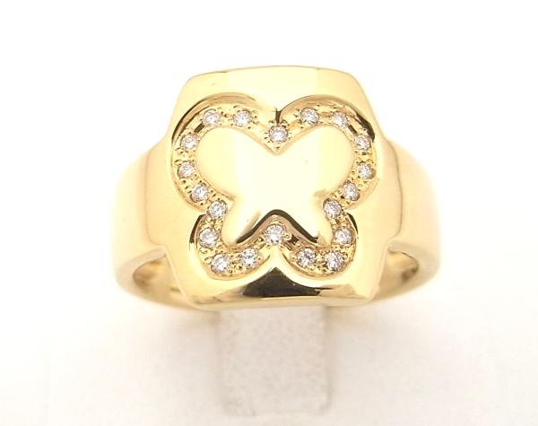 K18 イエローゴールド 指輪ダイヤモンド 0.10ctチョウデザイン 蝶デザインノーブランド リング【中古】【程度A】【美品】
