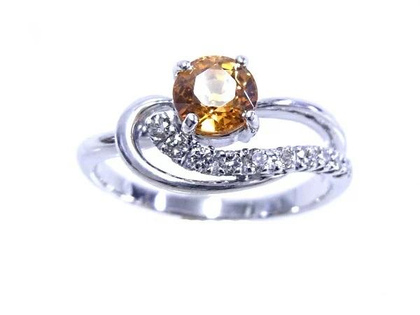 【ノーブランド】【質屋出品】【中古】指輪 リング K18WG ホワイトゴールド天然ガーネット スペサルティンガーネット 1.17ctダイヤモンド 0.20ct