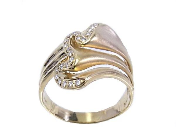 【中古】【程度A】【美品】K18 YG イエローゴールド 指輪 ダイヤ0.15ct ノーブランド リング サイズ19号