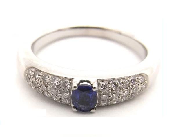 【中古】【程度A】K18WG ホワイトゴールド  指輪 サファイヤ ダイヤモンドノーブランド リング 約17号