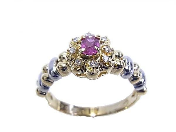 【中古】【程度A】K18 YG/WG 指輪イエローゴールド/一部ホワイトゴールドルビー ダイヤモンド 七月 誕生石ノーブランド リング 8号