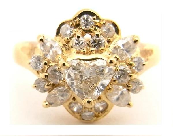 【送料無料】【代引手数料無料】【中古】【程度A-】K18 YG イエローゴールド 指輪ハート型ダイヤモンド ダイヤモンド0.33ct 0.51ct ノーブランド リング