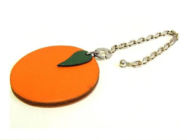 【中古】【程度B+】エルメス HERMES オレンジ モチーフ キーホルダーレザー シルバー