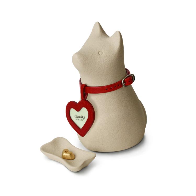 犬をモチーフにしたペット供養用品。大切なペットをいつもそばに感じられる骨つぼモニュメントです。シンプルだけど愛らしいデザイン。イタリアの工房で生まれました。 ペット 供養 骨壺 位牌 仏壇 ミニ 犬 おしゃれ ペット用品 動物 かわいい 猫 うさぎ 小動物 ペット用お墓 ペット仏具 『ワンチョAホワイト ハート(レッド)』 モダン仏壇 現代仏壇の八木研