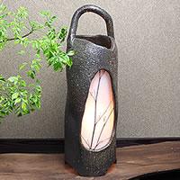 信楽焼 草の穂あかり やさしい明かりが灯る陶器照明 和風照明 インテリアライト 陶器ライト あんどん ak-0008