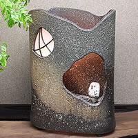 信楽焼 夕暮れフクロウ照明 幸せを呼ぶフクロウ陶器ライトです インテリア照明 陶器照明 梟あんどん 行灯 信楽焼照明 屋内用照明 ak-0023