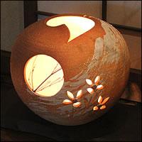 【 今だけポイント10倍 】信楽焼 照明 やさしい明かりが灯る陶器照明 和風照明 インテリアライト 陶器ライト あんどん ak-0089