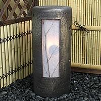 信楽焼 風の水琴洞夢 陶器照明と風鈴がコラボ 水琴窟の音色と陽炎が幻想的な空間を 水きんくつ 陶器 あんどん 和風 インテリア 庭園灯 陶器照明 しがらき やきもの ak-0062