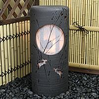 信楽焼 風の水琴洞夢 陶器照明と風鈴がコラボ 水琴窟の音色と陽炎が幻想的な空間を 水きんくつ 陶器 あんどん 和風 インテリア 庭園灯 陶器照明 しがらき やきもの ak-0063