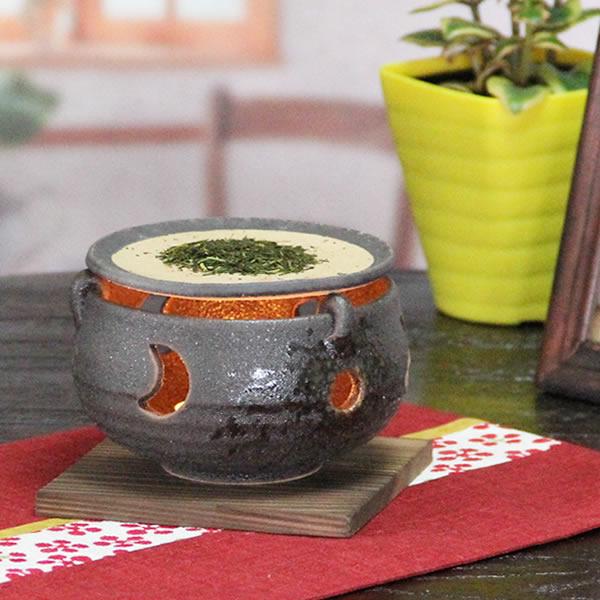 信楽焼き茶香炉でお茶の香りをお楽しみ下さい 専用ローソク10回分付き アロマポット 和風 お茶 インテリア 癒しの空間をつくる陶器 陶器 インテリアにも最適 ty-0012 お気にいる 定価 信楽焼き黒砂流し茶香炉 しがらき