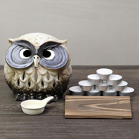 Shin raku pottery incense burners! Ideal for interior! OWL tea incense aroma pot pottery / or kimono / Japanese / OWL / pottery / tea / [ty-0004]
