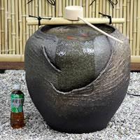 Shin raku pottery vase-spring tsukubai! And while tight Bai! Dt-0025 of circulation water Koto cave water flow / 蹲 / KAKEHI and KAKEHI / world / miniature / Shin Raku Kakhi / spring / Japanese / pottery / or even when