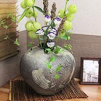 信楽焼 ひねり変形丸花瓶 癒しを感じさせる土味の壷 つぼ ツボ 花瓶 花器 陶器 花入れ 陶器 インテリア しがらき ha-0050