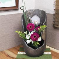信楽焼 きフクロウ付き花器 癒しを感じさせる 土味の壷(つぼ)花瓶 花器 陶器 花入れ 陶器 インテリア しがらき ha-0160