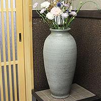 【 今だけポイント10倍 】信楽焼 古窯櫛目花器 癒しを感じさせる土味の壷 つぼ 花瓶 花器 陶器 花入れ 一輪挿し しがらき 陶器 インテリア やきもの 焼き物 ha-0163