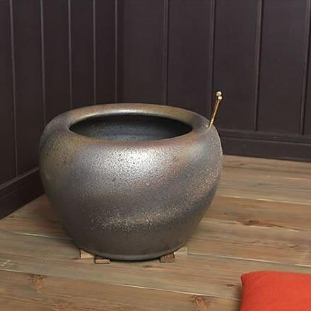 火鉢セット 陶器 手あぶり 灰付き★信楽焼★10号金彩火鉢 hi-0003