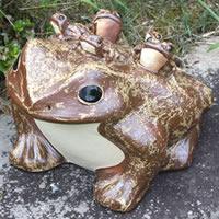 信楽焼 13号五匹子付き蛙 (むかえる) お庭に玄関先に陶器蛙 やきもの 陶器 しがらきやき 蛙 陶器かえる 信楽焼カエル ka-0023