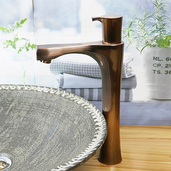 立ち水栓 手洗い鉢用 立水栓 単水栓 ブロンズ ロング se-0025