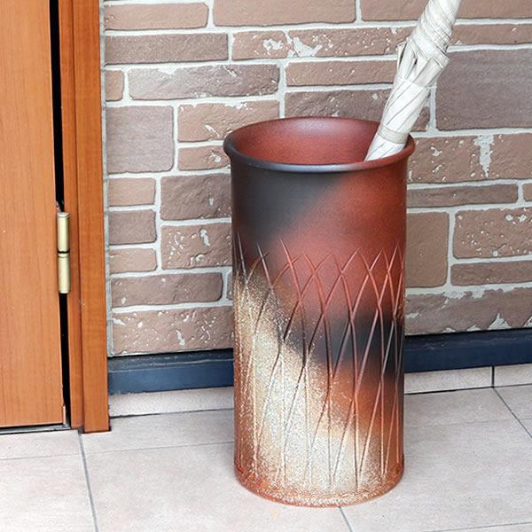 傘立て 陶器傘立て 信楽焼かさたて 和風傘立て 傘入れ 壷 しがらき カサタテ やきもの傘立て かさたて陶器 玄関 インテリア 傘立て陶器 kt-0062