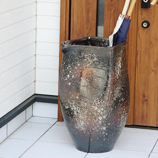 傘立て 陶器傘立て 信楽焼かさたて 和風傘立て 傘入れ 壷 しがらき カサタテ やきもの傘立て かさたて陶器 玄関 インテリア 傘立て陶器 和風 kt-0151