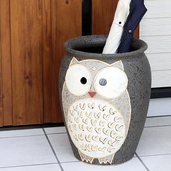 【 今だけポイント10倍 】ふくろう 傘立て 陶器傘立て 信楽焼かさたて 和風傘立て 傘入れ 壷 しがらき カサタテ やきもの傘立て かさたて陶器 玄関 インテリア 傘立て陶器 和風 フクロウ傘立 kt-0246