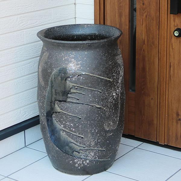 傘立て 陶器傘立て 信楽焼かさたて 和風傘立て 傘入れ 壷 しがらき カサタテ やきもの傘立て かさたて陶器 玄関 花器 花瓶 つぼ型傘立て kt-0317