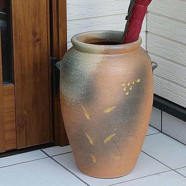 傘立て 陶器傘立て 信楽焼かさたて 和風傘立て 傘入れ 壷 しがらき カサタテ やきもの傘立て かさたて陶器 玄関 花器 花瓶 つぼ型傘立て kt-0327