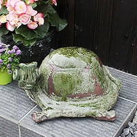 信楽焼 き手作りカメ置物 長寿・金運にご利益あり 陶器かめ置き物 カメ やきもの 縁起物 しがらき 庭 置物 ok-0010