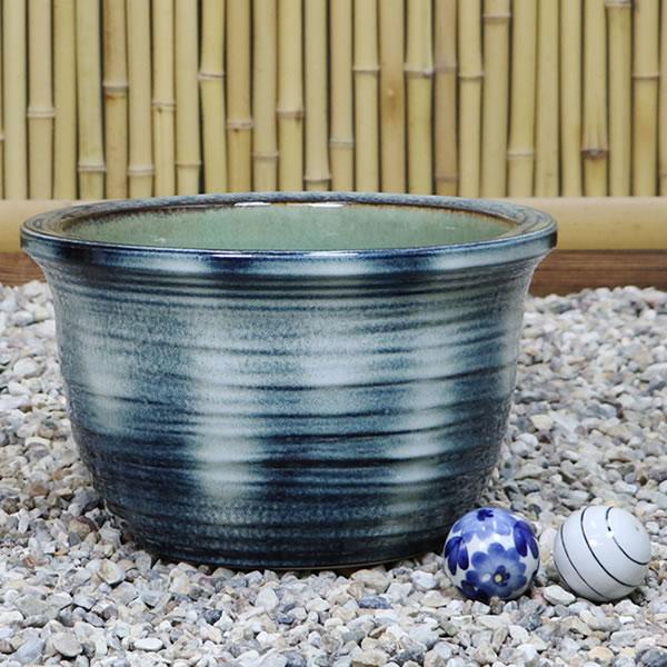 No. 10 green vidro water bowls! Shin Raku suiren pots! Ideal for fish bowls, fish bowl! Water lilies pots / pottery water lily pot / Lotus pots / already pot / medaka pots / pots / pottery / water coupled pots / water bowl / water lilies pots / easy bake