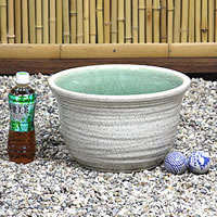# 11 White Misty water bowls Shin Raku suiren pots! Ideal for fish bowls, fish bowl! Water lilies pots / pottery water lily pot / Lotus pots / already pot / medaka pots / pots / pottery / water coupled pots / water bowl / water lilies pots / easy baked L