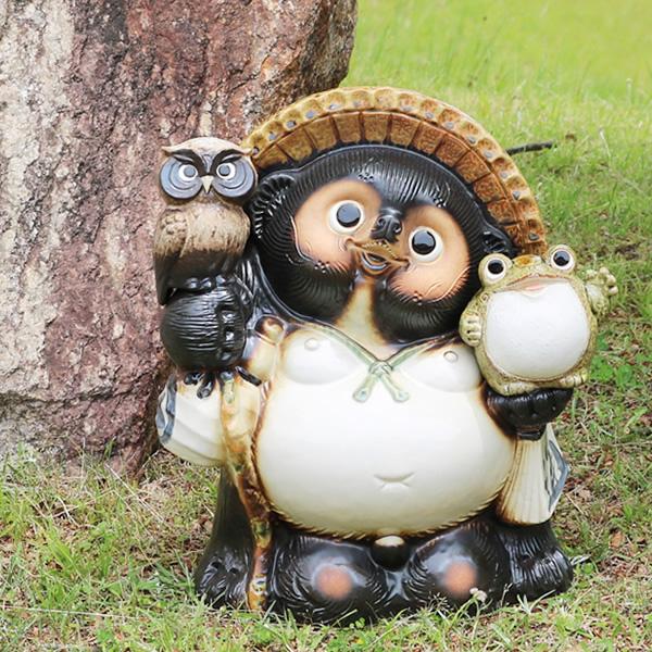 送料無料 13号ふくろう蛙付き信楽焼たぬき 縁起物のタヌキ 陶器タヌキ たぬき置物 やきもの しがらきやき 焼き物 狸 タヌキ 信楽 ta-0305